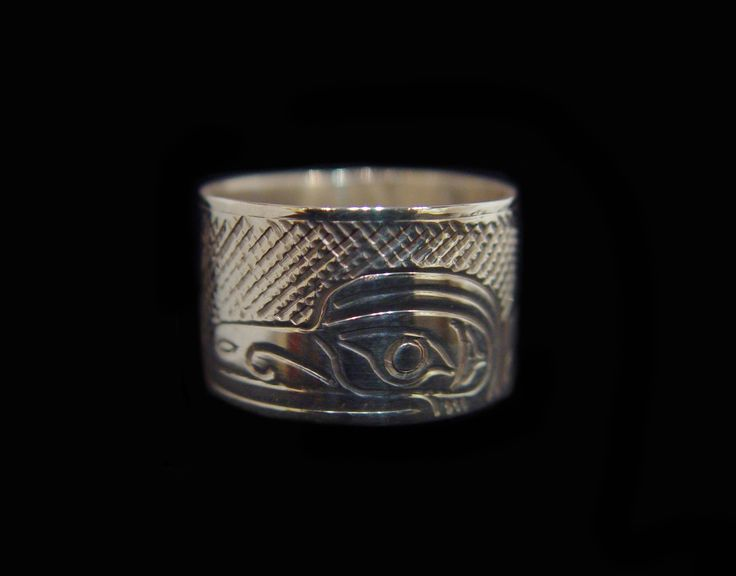 "Raven Ring, Val Lancaster, Namgis. Handcarved sterling silver, 0.5"". Northwest Coast First Nations Jewelry."
