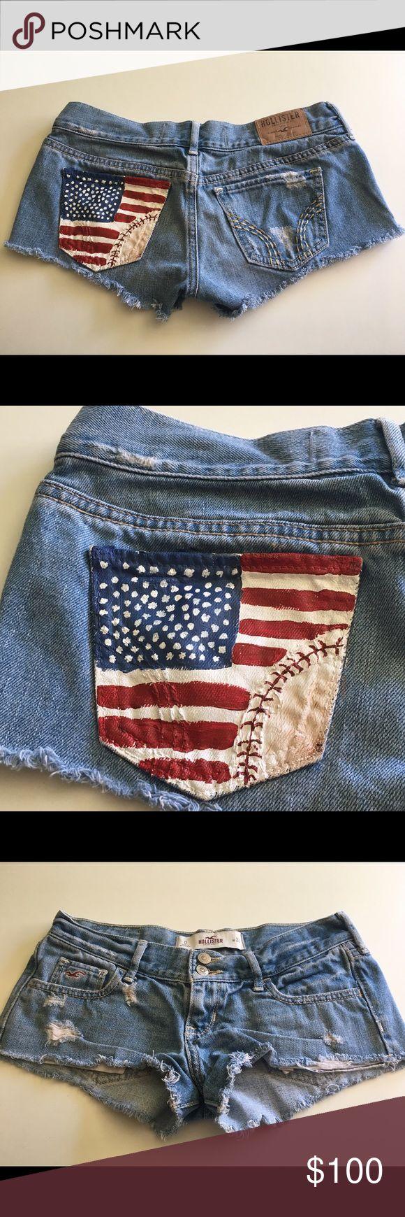 """""""Dorothy"""" Summer USA baseball shorts ⚾️ This shorts are the perfect hand painted summer baseball ⚾️ 4th of July Shorts Jean Shorts"""