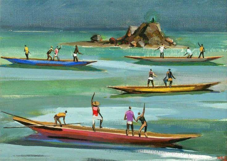Canoeiros, de Carybé - [Pinacoteca ©Carybé] Templo Cultural Delfos: Carybé (Hector Julio Páride Bernabó) - a arte e a paixão pela Bahia