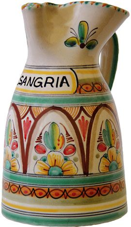 ceramic antique green sangria pitcher from Spain
