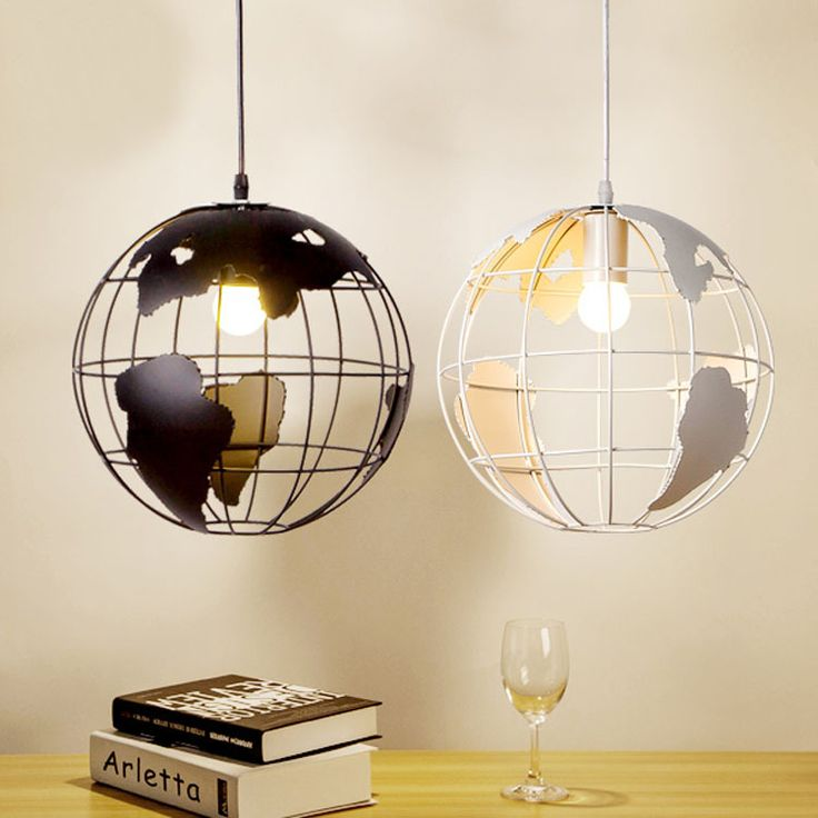 Один руководитель современный творческий карта глобус черный/белый подвеска лампа для столовой моды спальня украшения свадьба лампы A104купить в магазине Y3 lighting StoreнаAliExpress