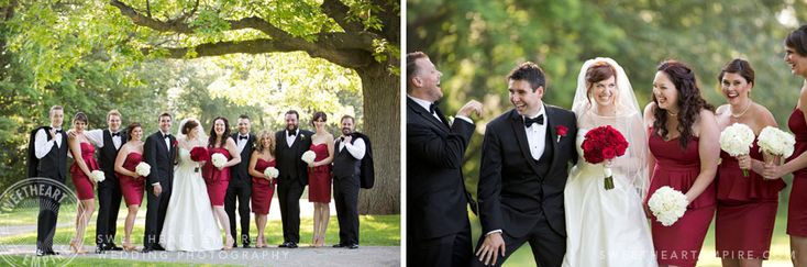 Bridesmaids in red at Geraldos LaSalle Park - Wedding Photography #sweetheartempirephotography
