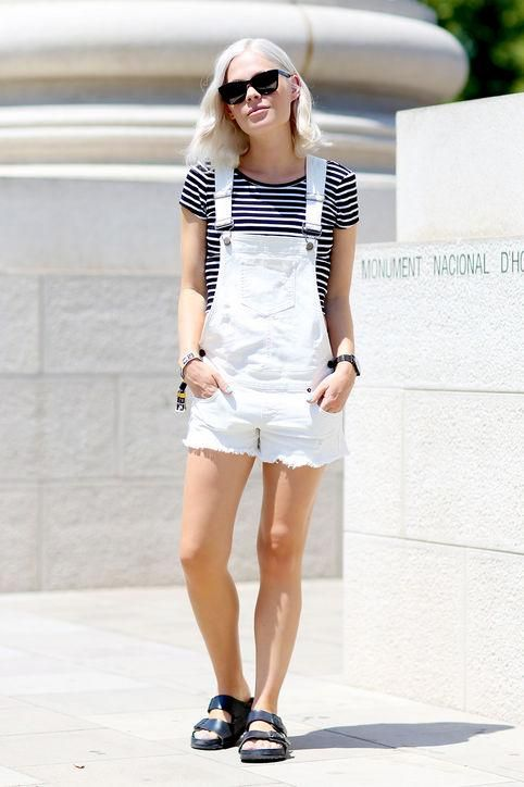 These white short overalls and striped tee on We The People Style's Jessie Bush are a match made in heaven. The bright white of the summery one-piece makes the tee immediately pop.