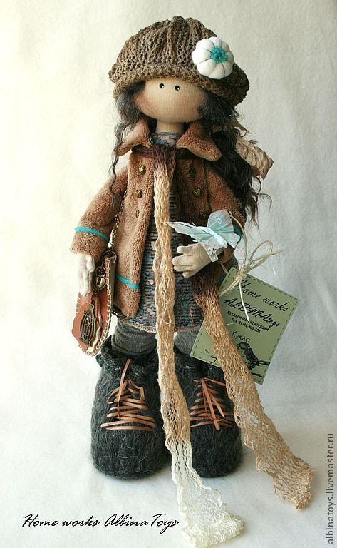 Купить Текстильная кукла Сати в бирюзово-бежевых тонах - бирюзовый, бежевый, кукла, текстильная кукла