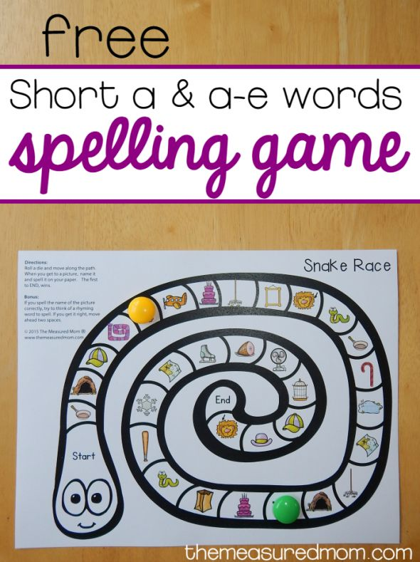Free game for spelling short a and a-e words from The Measured Mom