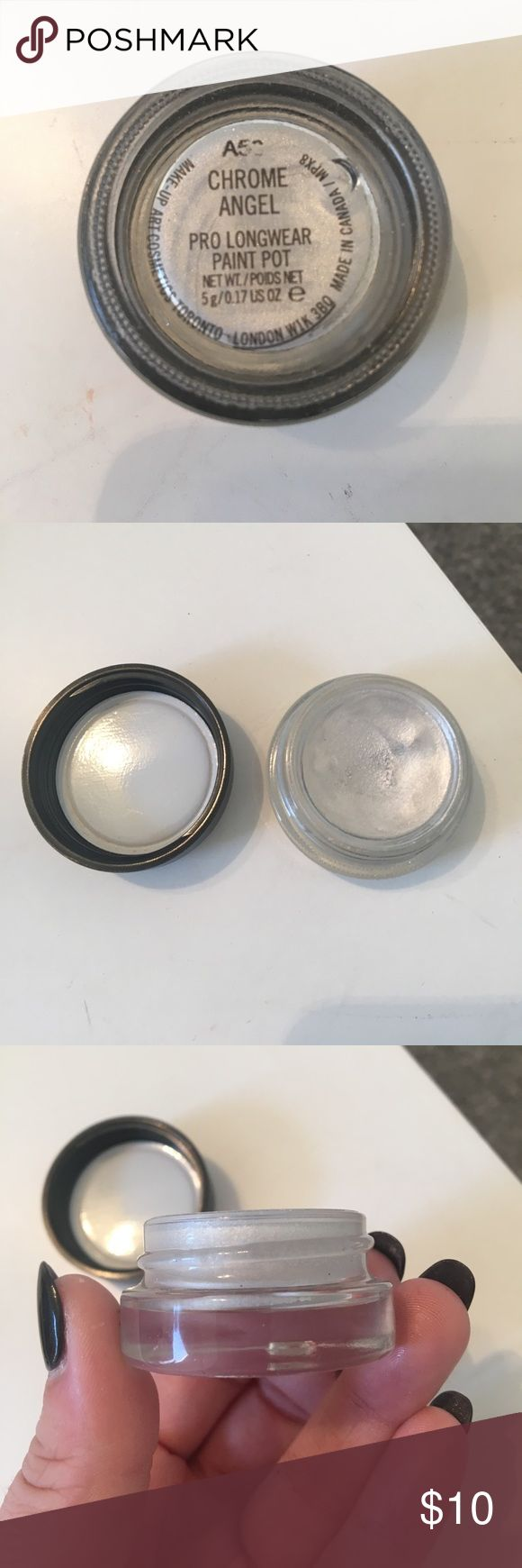Mac paint pot in chrome angel Mac paint pot in chrome angel. This is an eyeshadow base or can be used as an eyeshadow alone. It is a shimmery silver color. MAC Cosmetics Makeup Eyeshadow