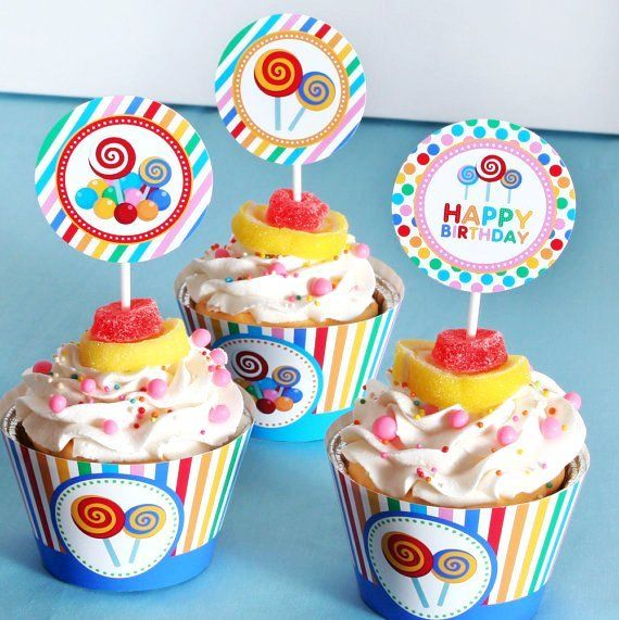 DIY PRINTABLE Birthday Party - Party Circles Cupcake Wrappers - Candyland  - PS832d