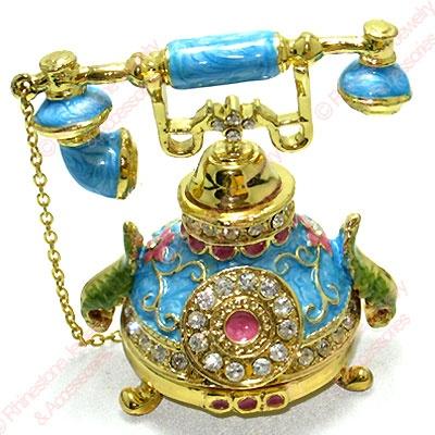 Blue Phone Enamel Crystal Trinket Box