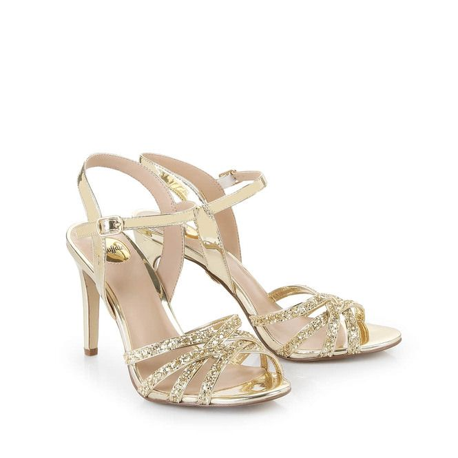 Find Buffalo high-heeled sandals in gold order now in BUFFALO Online-Shop.