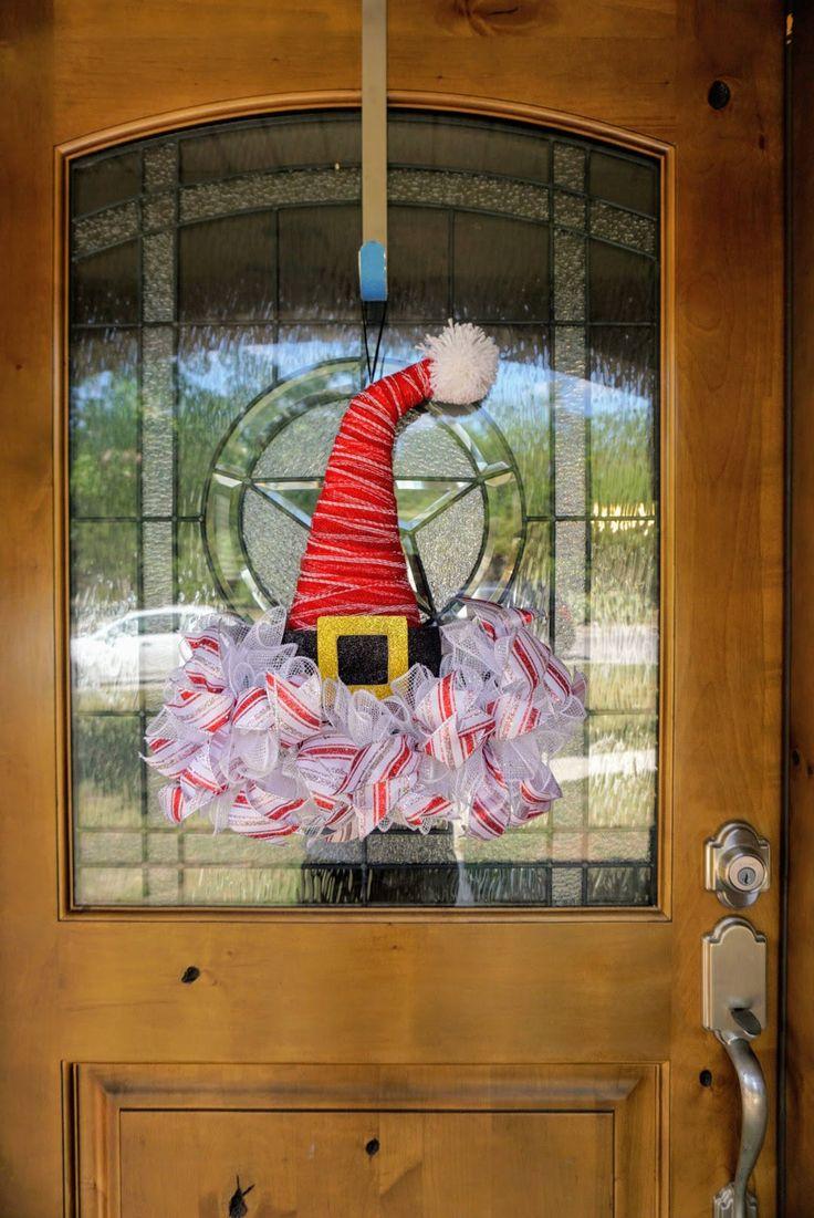 Santa Hat Wreath-Mini, Christmas Wreath-Mini, Mini Christmas Wreath, Christmas Door Decor-Mini, Christmas Mesh-Mini, Santa Face Mini Wreath by Texascaseyscreations on Etsy