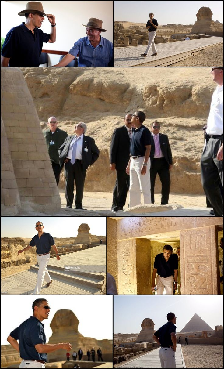 #44thPresident #BarackObama tours the #Pyramids and Sphinx with Secretary General of the #Egyptian Supreme Council of Antiquities, Zahi Hawass (lSenior Advisor David Axelrod and Chief of Staff Rahm Emanuel June 4, 2009. (Official White House photo by Pete Souza) [Secret Service Joe Clancy at left and three more agents behind Clancy.]