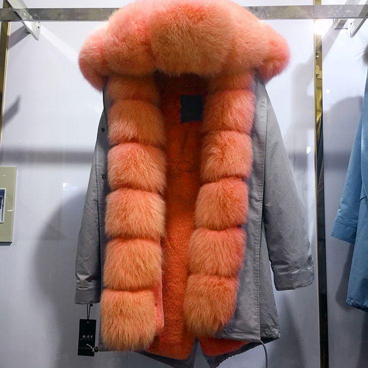 YOUMIGUE Vrouwen winter warm natuurlijke grote vos bontkraag real bont parka met luxe rex konijnenbont voering camouflage parka jas