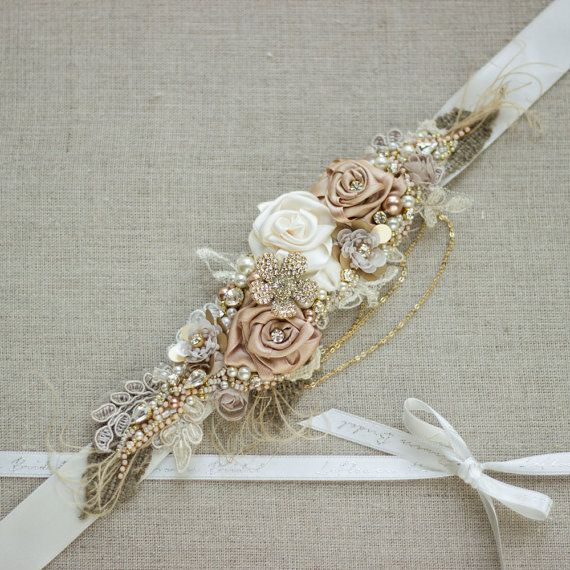 Bridal sash Burlap Rustic Gold Blush Rose Champagne by LeFlowers