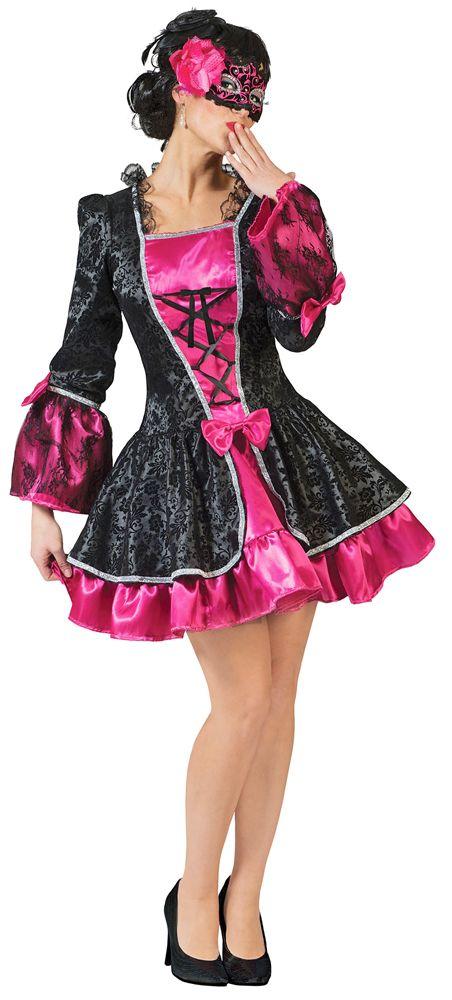 Sie lieben es extravagant und auffällig? Mit dem hochwertig gefertigten Barock Kostüm Vicky in Schwarz und Pink ziehen Sie alle Blicke auf sich!