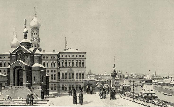 Площадка перед Зимним дворцом и церковь Рождества Иоанна Предтечи на Бору