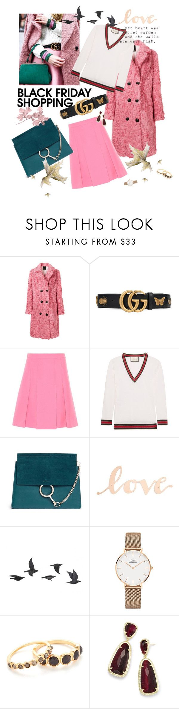 """""""Black Friday"""" by ladylly ❤ liked on Polyvore featuring Numerootto, Gucci, Chloé, Primitives By Kathy, Jayson Home, Daniel Wellington, Gorjana, Kendra Scott, sale and danielwellington"""