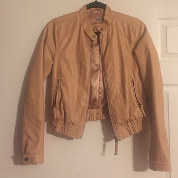 Tan leather jacket Faux tan leather jacket Charlotte Russe Jackets & Coats