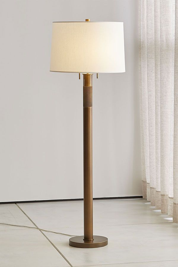 A Hand Stamped Diamond Pattern Adds A Ring Of Texture To The Jordan Floor Lamp S Stately Column Shaped Base A Handmade Drum S Floor Lamp Lamp Brass Floor Lamp