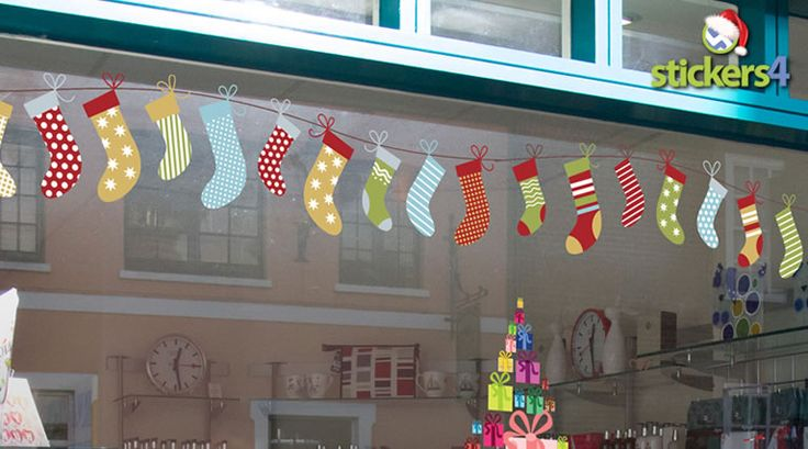 A double pack of vintage hanging stockings window cling for christmas windows new 2014 new