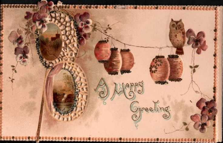 purple & white pansies & Japanese lanterns & owl above 2 perforated rural insets -- A HAPPY GREETING - TuckDB Ephemera