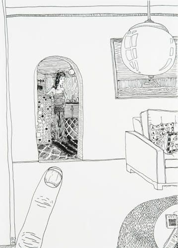 BRIAN CALVIN  Untitled, 2006  Ink on paper 13 1/2 x 9 3/4 inches   Courtesy Anton Kern Gallery, New York