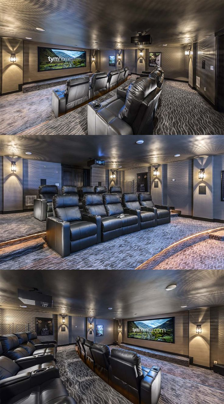 TYM Home Cinema for Handcrafted Homes' 2015 Utah Valley Parade of Homes entry. Wolf Cinema 4K Projector, Anamorphic widescreen, Paradigm surround sound speakers. Control by Savant. #TYMhomes #HandcraftedHomes #Savant