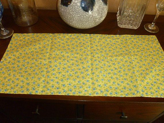 Floral Table Runner, Small Table Runner,Blue Floral Fabric, Reversible  Runner, Blue And Yellow Flowers, Yellow Floral Fabric, Table Runner
