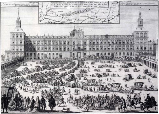 1704. View of Alcázar of Madrid, by Filippo Pallota