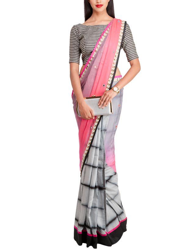 Priti Sahni | Grey and Pink Half and Half Saree at strandofsilk.com