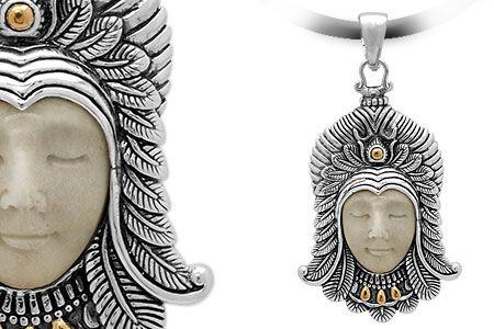 Gold & Silver pendant, bone carving, close eyes, bali motif. Medium Size 58x30 mm