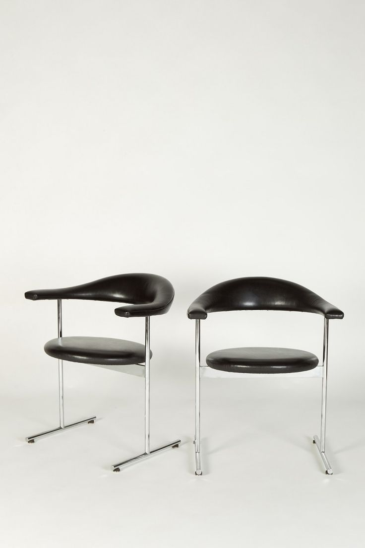 Geoffrey Harcourt; #037 Chromed Metal and Leather Armchairs for Wagemans & Van Tuinen, 1960s.