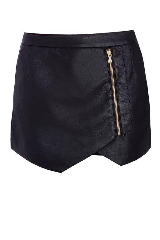 Jupe short en simili cuir noir