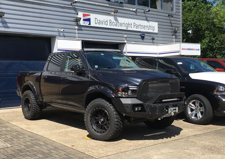 """Dodge Ram 1500 Hemi Sport ... 4 inch lift, 37"""" Comforsers on XD wheels, arch flares, Boss grille, Amazing LED light bars, Rough Country bumpers, Winch ... and a Procharger Supercharger for good measure !!  Contact us for all your American vehicle custom requirements   www.boatwright.co.uk  #customtrucks"""