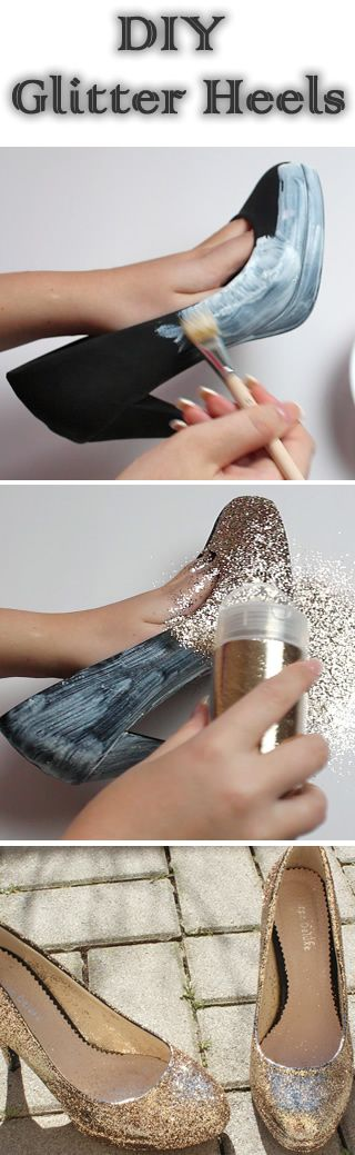 Supplies: - Old Shoes - Glitter from Rayher 110g - Fabric glue of Stanger - Brush - Clear Coat from Marabu How to make: Step 1: Glue shoes one by one with a thin layer of fabric glue Brush! Pay attention not immediately be provided with the whole shoe glue, otherwise it complicates further processing.…