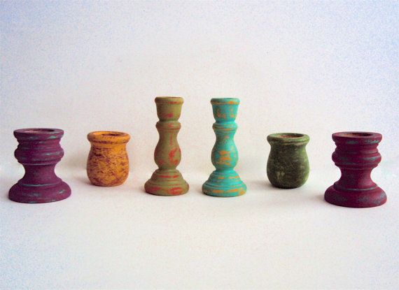 Set of Six Hand-Distressed Boho Candle Holders Small Candle
