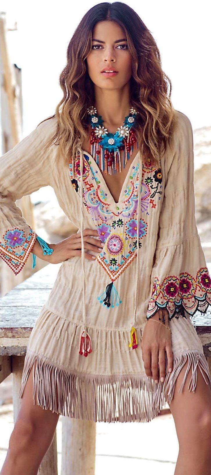 #boho #fashion #spring #outfitideas   Indie boho embellished fringe dress Source