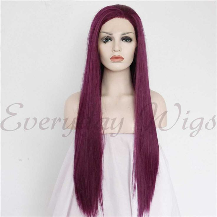 """24"""" Wine Straight Synthetic Lace Front Wig-edw1096"""