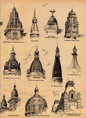 Las cupulas de Buenos Aires (ilustracion del genial Manuel Garcia Ferre).-