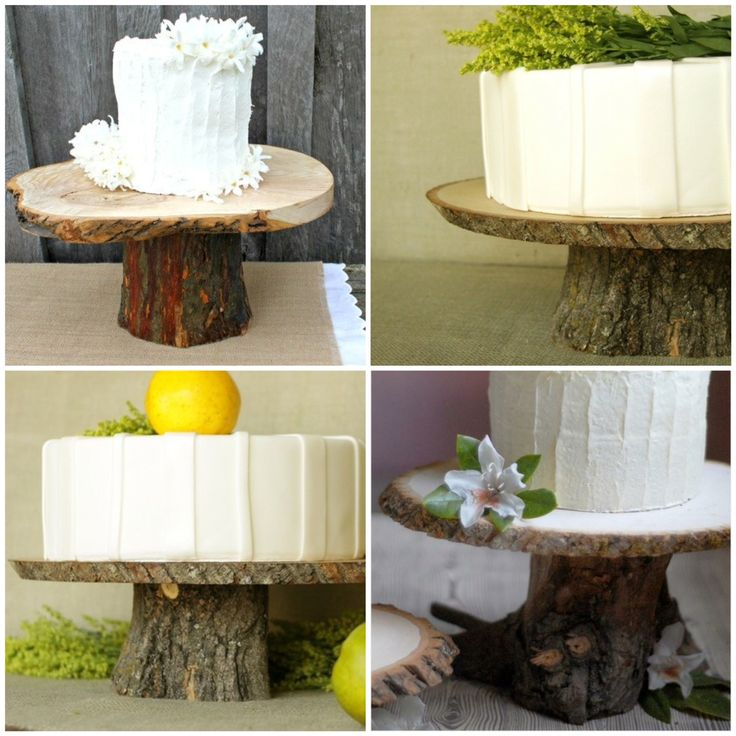 Set Small Cakes Atop Rustic Wood Cake Stands And Use As Centerpieces Dessert Wedding Centerpiece All In One The Couple Can At Their