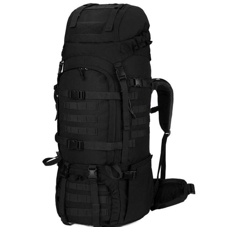 65 Liter Backpack Internal Frame Tactical Military Molle Rucksack  Rain Cover  #65LiterBackpack