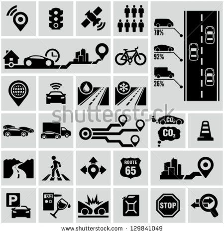 Road traffic info graphic icons