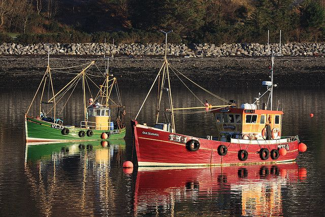 Fishing boats at rest on Loch Broom,  Ullapool harbour,  Wester Ross, Scotland by David May, via Flickr