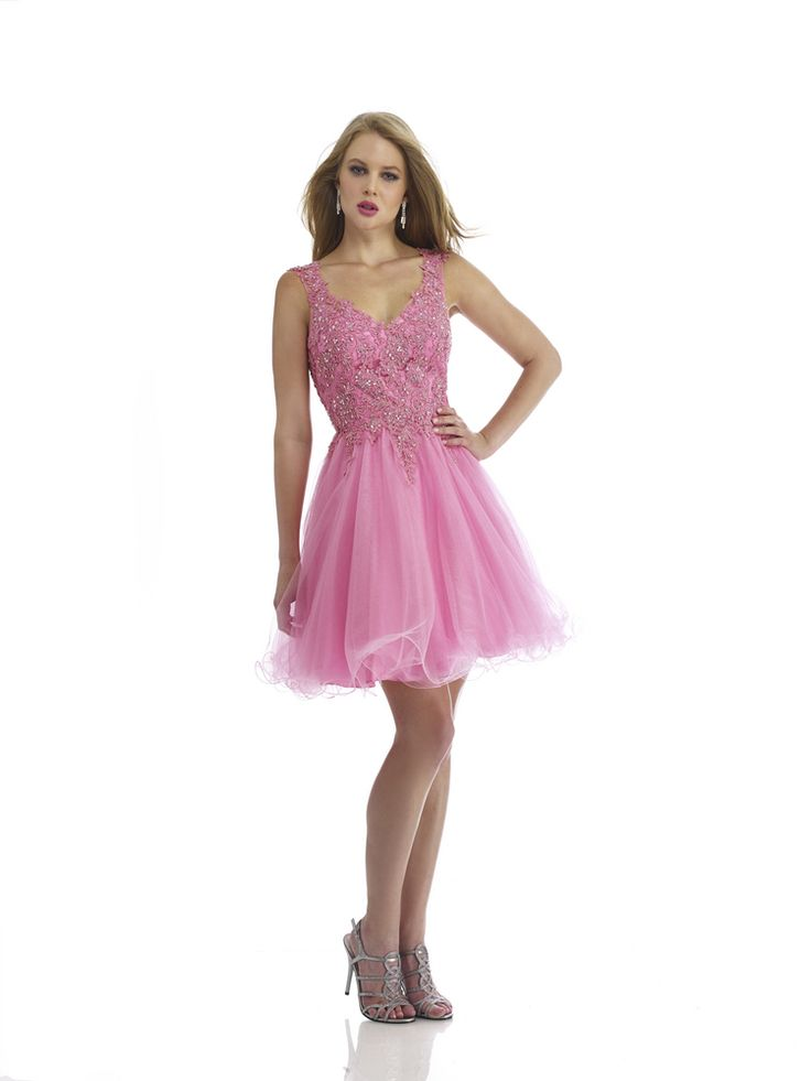 V Neck Short Pink Organza A Line Homecoming Dress
