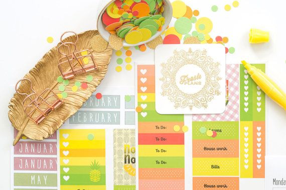 check out this way awesome planner!  It has scented pineapple and watermelon stickers, a scented highlighter, month labels, a years worth of week pages, rose gold binder clips and it ships free!