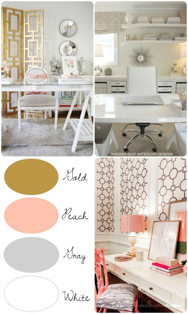 My Office makeover plan and inspiration for a girly yet sophisticated space using the color scheme gold, peach, gray and white #thekolbcorner  #theultimateparty - Week 17