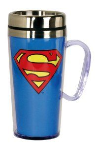DC Comics Superman Logo Insulated Travel Mug, Blue For the Superman in your life. To help keep his drinks cold or hot. Made with acrylic and a  Stainless Steel inner wall. http://theceramicchefknives.com/ceramic-mug-lid/ 12-Ounce, 12-Ounce Eco Travel Mug, Black, Blue, Cafe Mocha Vodka Insulated Travel Mug, Ceramic Mug With Lid,