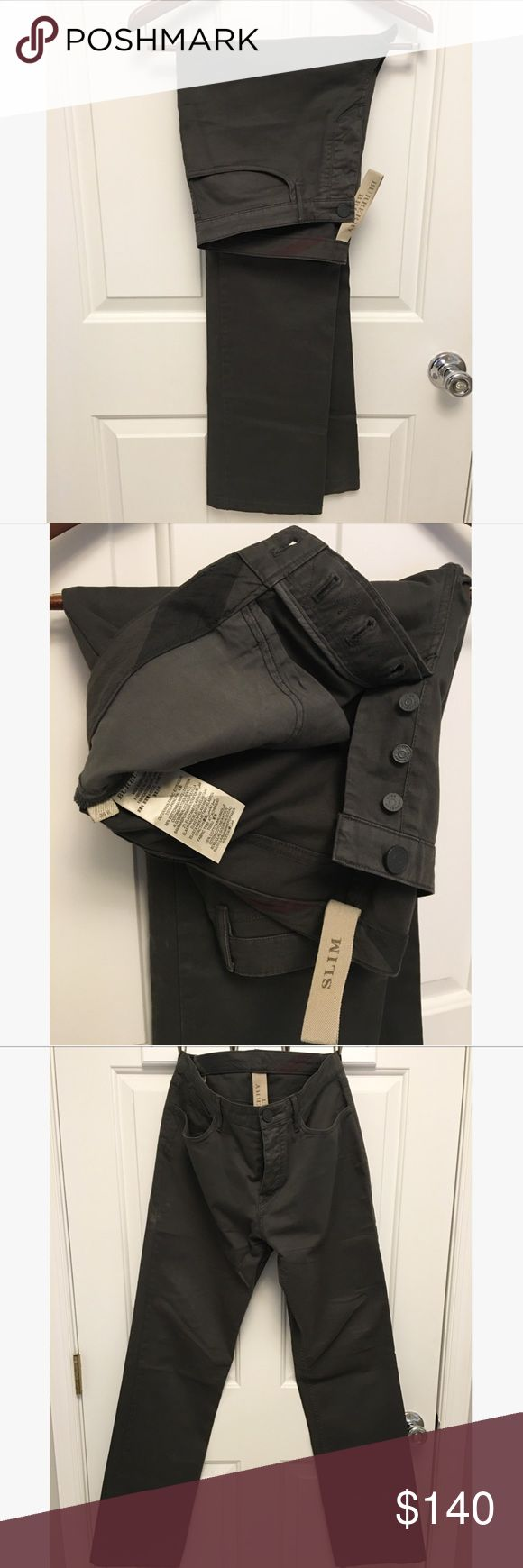 Burberry Slim Fit Chino-charcoal Like new and only worn once. Mint condition. Slim fit Burberry cotton twill chino in charcoal gray color. Fits true to size and sold just by waist size. Belt loops banded waist zip fly button closure. Two back pockets with Burberry emblem on one. Burberry Pants Chinos & Khakis