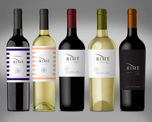 """The number of this wine: Rime from the winery Richardi Fazio Menegazzo is inspired by the word """"rhyme"""". A rhyme is a repetition of similar sounds in two or more words, most often in the final syllables of lines in poems and songs. In order to design this packaging, the agency Caliptra took into account this idea and transformed the rhyme into a visual one: with repetition of lines all over the label. For the brand, Caliptra made a refresh to highlight this concept."""