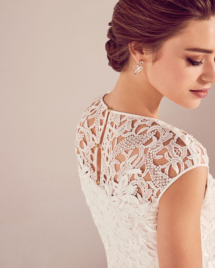 DETAILS - Ted's modern take on Victorian lace is perfect for a bride who loves to play with tradition but still wants a contemporary look on her weeding day. #WedWithTed