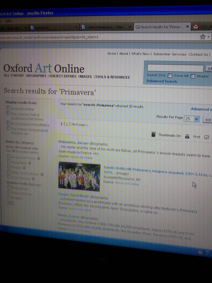 Artifact 1: As a non-traditional student, I am unable to physically go to the library during school hours to conduct research. However, MCCKC has made it possible for me to explore the many online databases. I use the Oxford Art Online database to complete the weekly blogs in my online Humanities course.